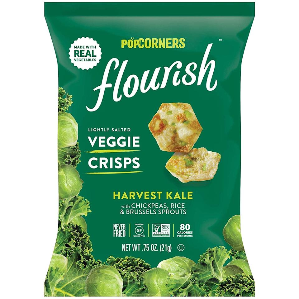 "<p>""With only 100 to 120 calories per serving and vital nutrients from real vegetables, <a href=""https://www.popsugar.com/buy/PopCorners-Flourish-Veggie-Crisps-483225?p_name=PopCorners%20Flourish%20Veggie%20Crisps&retailer=amazon.com&pid=483225&price=18&evar1=fit%3Aus&evar9=46528268&evar98=https%3A%2F%2Fwww.popsugar.com%2Ffitness%2Fphoto-gallery%2F46528268%2Fimage%2F46528286%2FPopCorners-Flourish-Veggie-Crisps&prop13=mobile&pdata=1"" rel=""nofollow"" data-shoppable-link=""1"" target=""_blank"" class=""ga-track"" data-ga-category=""Related"" data-ga-label=""https://www.amazon.com/PopCorners-Flourish-Harvest-Plant-Based-Protein/dp/B07NL5Y9B9"" data-ga-action=""In-Line Links"">PopCorners Flourish Veggie Crisps</a> ($18 for a 24-pack) are the perfect choice for people who are looking for a healthy snack with a lightly salted, savory flavor,"" said registered dietitian nutritionist Samantha Bartholomew, MS. Bonus: they're also gluten-free!</p>"