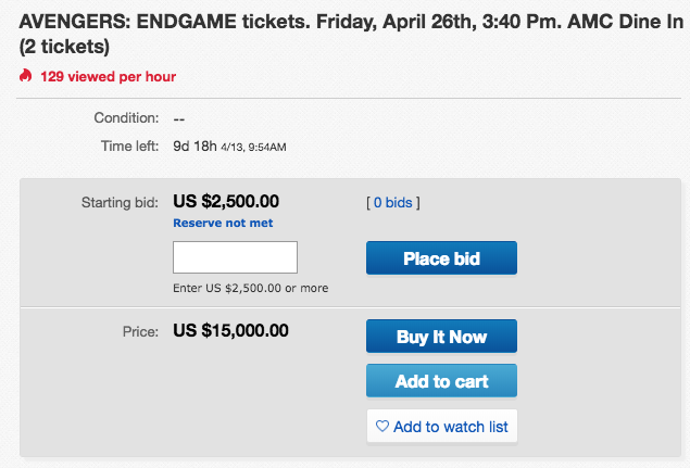 9a4046e9cbe5 Avengers  Endgame Movie Tickets Are Selling for Almost  10