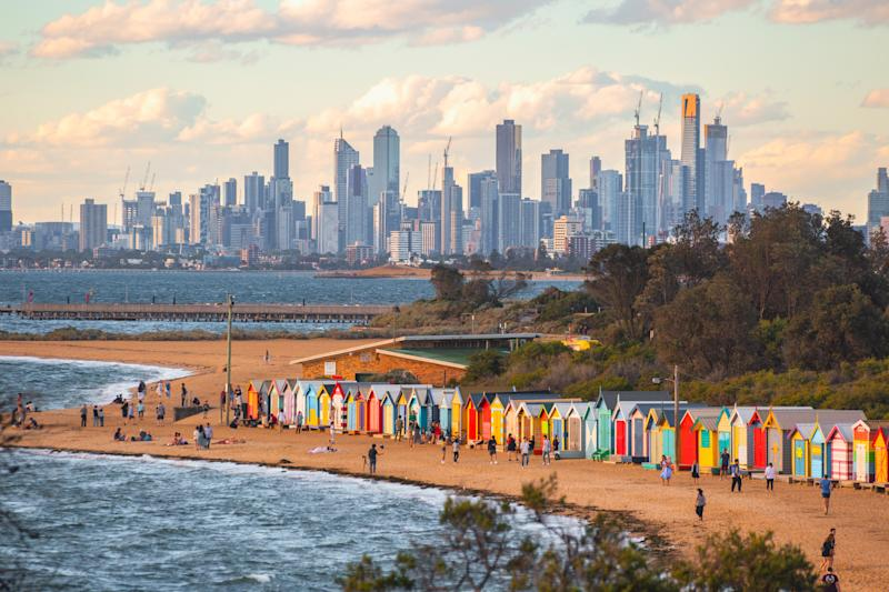 Brighton bathing boxes and Melbourne skyline