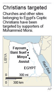 Map locates cities where Christians have been targeted; 1c x 4 inches; 46.5 mm x 101 mm;