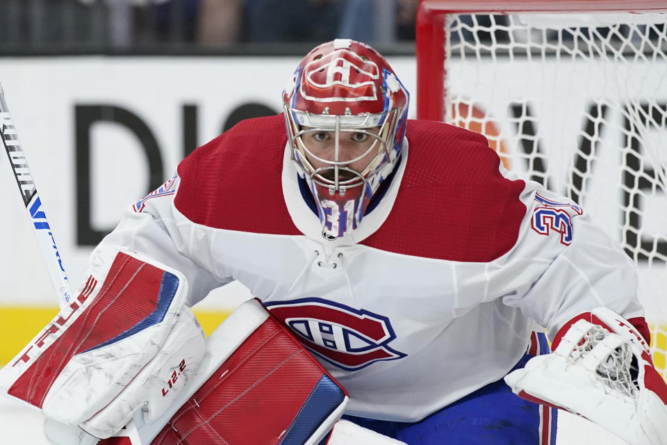 FILE - Montreal Canadiens goaltender Carey Price (31) plays against the Vegas Golden Knights during Game 2 of an NHL hockey Stanley Cup semifinal playoff series in Las Vegas, in this Wednesday, June 16, 2021, file photo. Canadiens goaltender Carey Price has voluntarily entered the NHL/NHL Players' Association joint player assistance program, a stunning announcement Thursday, Oct. 7, 2021, less than a week before the season begins and just three months after he backstopped Montreal to the Stanley Cup Final. (AP Photo/John Locher, File)