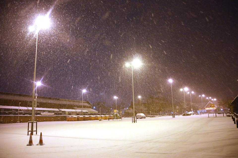 <p>The Met Office said several centimetres of snow had fallen in some parts over Monday night – with 1cm in Kent by 5am. (PA) </p>