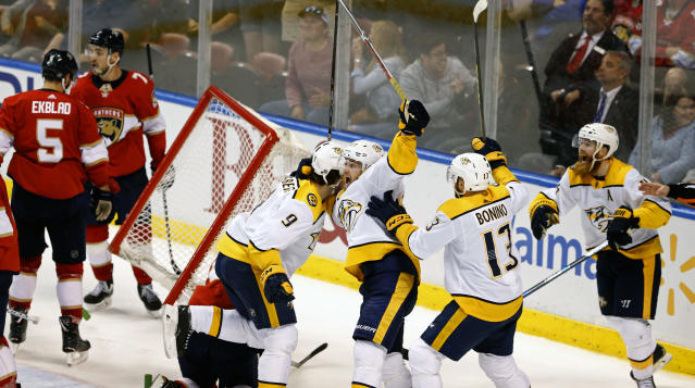 The Predators thought a last-second goal against the Panthers Tuesday had tied the game only to be disappointed in a replay review. (AP)
