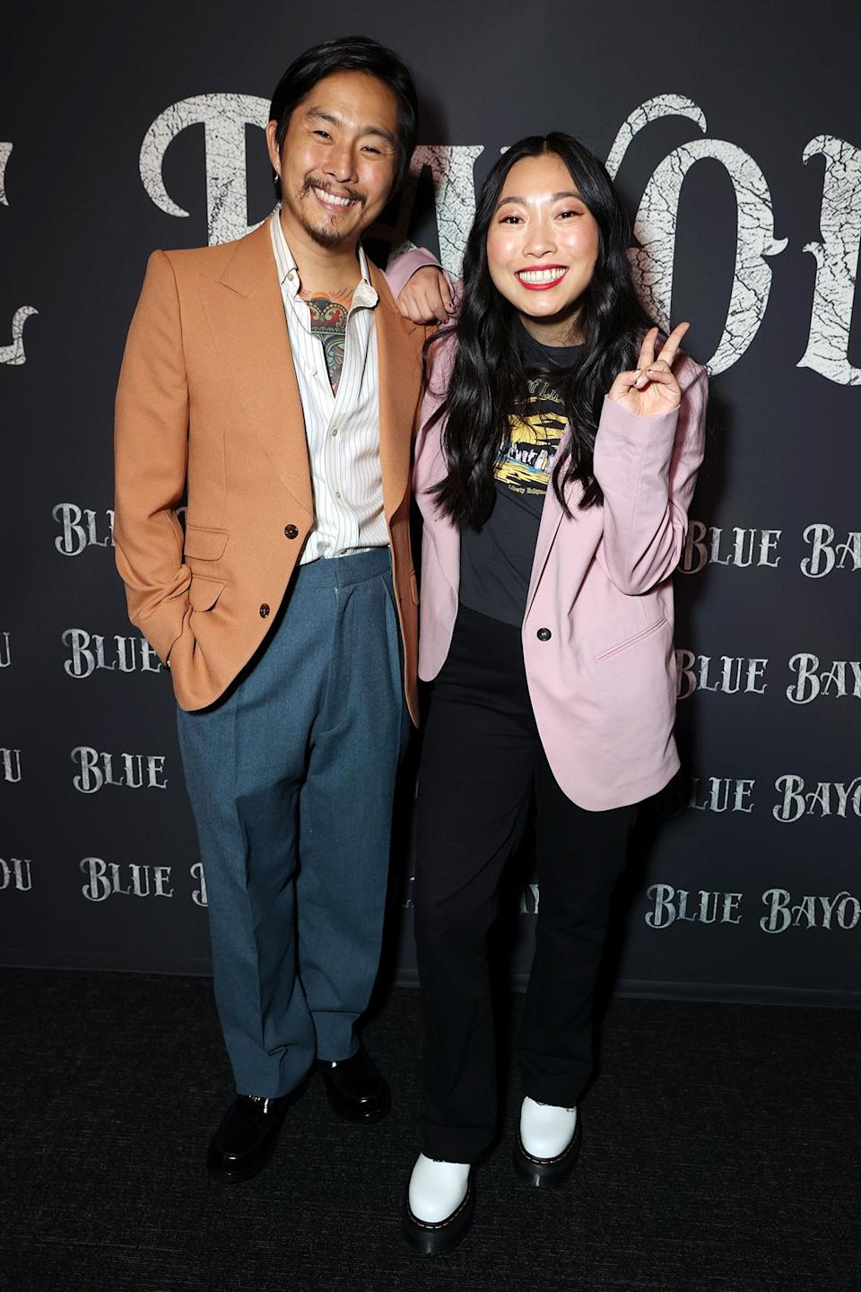 <p>Director Justin Chon and Awkwafina hit the <i>Blue Bayou</i> premiere in L.A. on Sept. 14.</p>