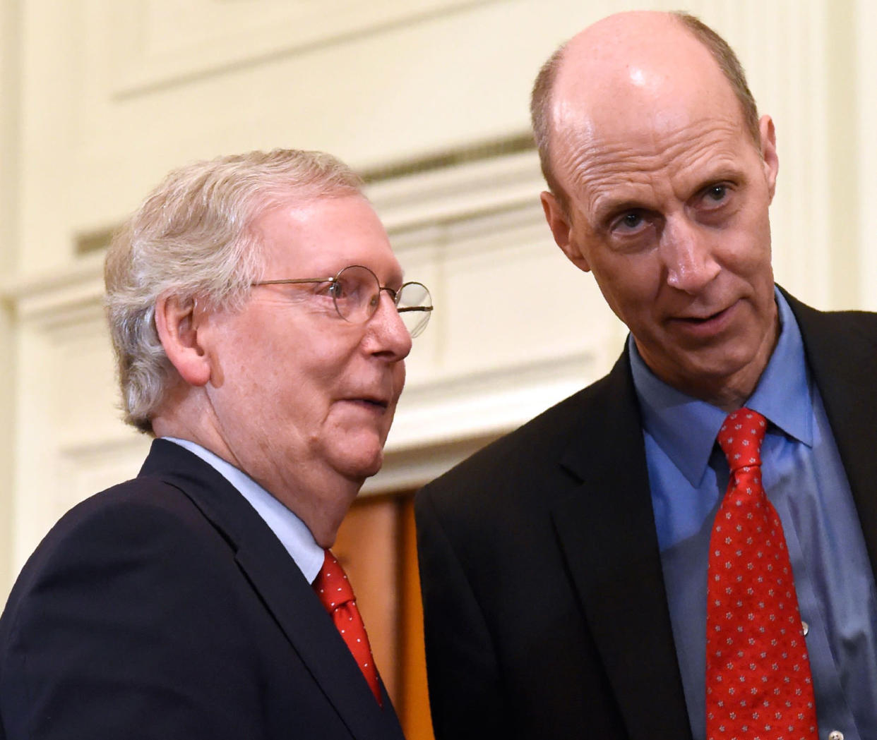 Senate Majority Leader Mitch McConnell, left, with lawyer and former Justice Department official Ed Whelan before the president's announcement of his Supreme Court nominee on July 9, 2018, in Washington, D.C. (Photo: Saul Loeb/AFP/Getty Images)