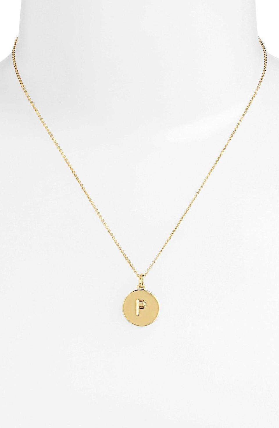 """<p><strong>KATE SPADE NEW YORK</strong></p><p>nordstrom.com</p><p><strong>$40.60</strong></p><p><a href=""""https://go.redirectingat.com?id=74968X1596630&url=https%3A%2F%2Fwww.nordstrom.com%2Fs%2Fkate-spade-new-york-one-in-a-million-initial-pendant-necklace%2F3628637&sref=https%3A%2F%2Fwww.thepioneerwoman.com%2Fholidays-celebrations%2Fgifts%2Fg32303677%2Fgifts-for-grandparents%2F"""" rel=""""nofollow noopener"""" target=""""_blank"""" data-ylk=""""slk:Shop Now"""" class=""""link rapid-noclick-resp"""">Shop Now</a></p><p>No matter her taste, she's bound to love this pretty necklace. A simple initial keeps it personal. </p>"""