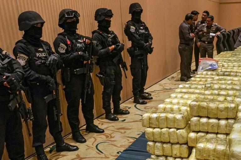 Thai police display seized drugs worth $37 million at their Bangkok headquarters in 2017