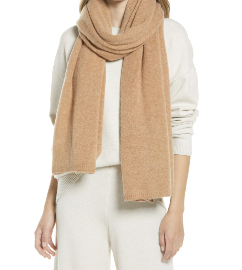 Nordstrom Recycled Cashmere Scarf in Cashew (Photo via Nordstrom)