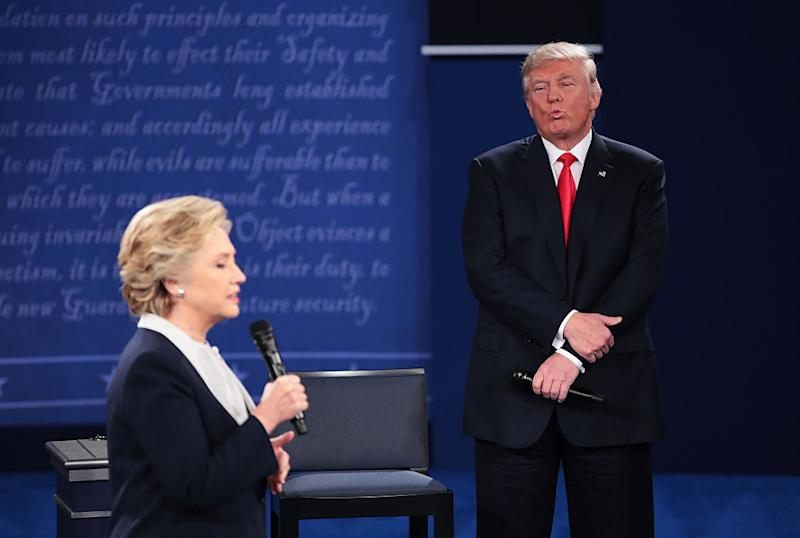 Hillary Clinton debates Donald Trump during the 2016 election. (Photo: Scott Olson/Getty Images)