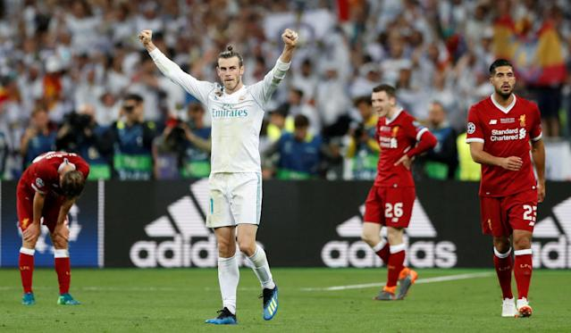 Soccer Football - Champions League Final - Real Madrid v Liverpool - NSC Olympic Stadium, Kiev, Ukraine - May 26, 2018 Real Madrid's Gareth Bale celebrates winning the Champions League at the end of the match REUTERS/Andrew Boyers TPX IMAGES OF THE DAY