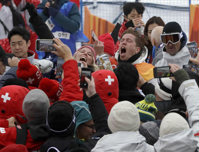 <p>Shaun White, of the United States, celebrates after the men's halfpipe finals at Phoenix Snow Park at the 2018 Winter Olympics in Pyeongchang, South Korea, Wednesday, Feb. 14, 2018. (AP Photo/Kin Cheung) </p>
