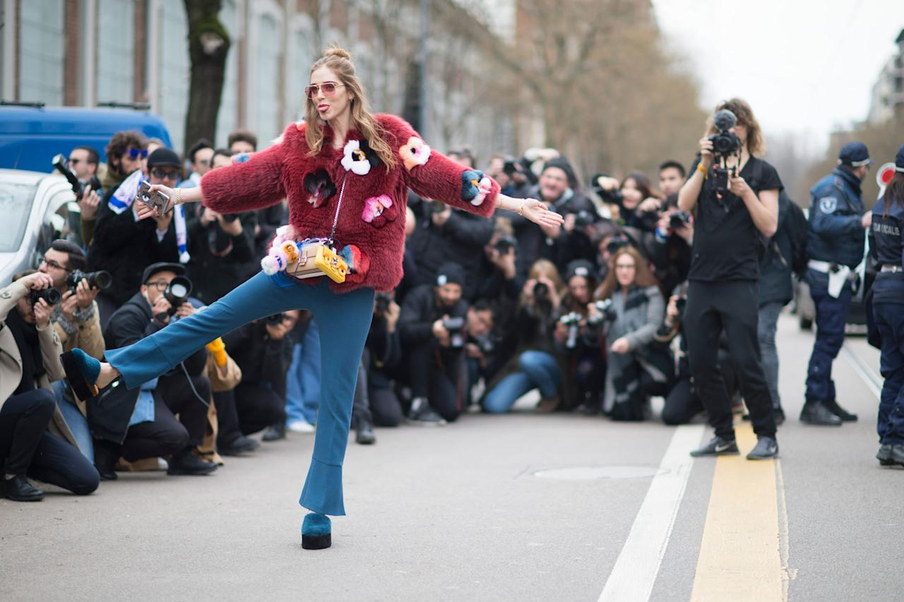 <p>Fur has been a big statement this year and we have all been loving the fun statement faux fur coats and fluffy accessories. [Photo: The Blonde Salad] </p>