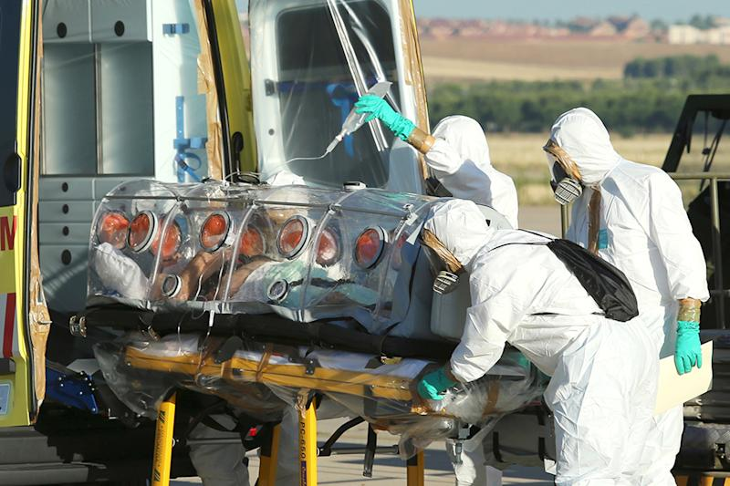 Picture taken and released on August 7, 2014 by the Spanish Defense Ministry shows Roman Catholic priest Miguel Pajares, who contracted the deadly Ebola virus, being transported from Madrid's Torrejon air base to Carlos III hospital