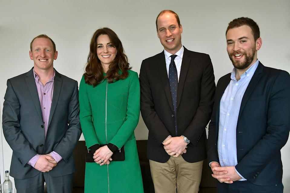 Inspiring story: Jonny Benjamin, far right, the founder of mental health charity Beyond, with the Duke and Duchess of Cambridge and, right, Neil Laybourn, who talked Mr Benjamin out of taking his own life in 2008 (AFP via Getty Images)