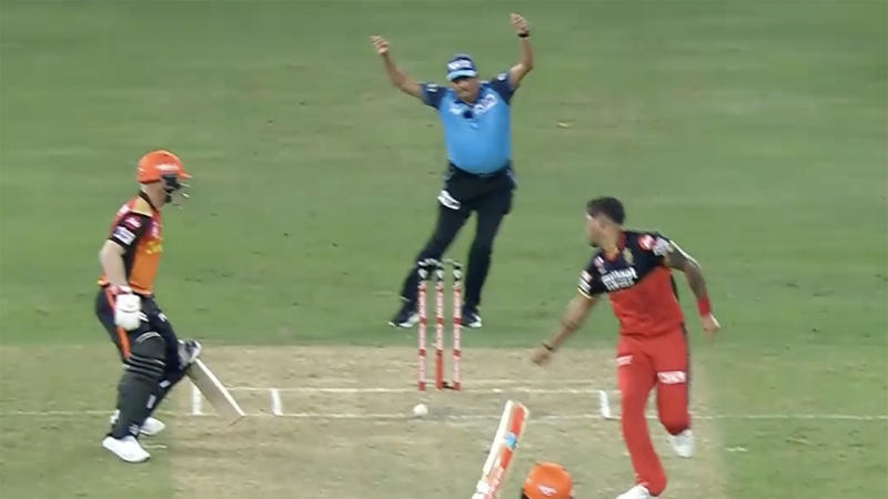 David Warner, pictured here being dismissed in the Indian Premier League.