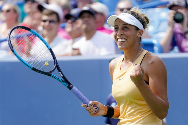 Madison Keys, of the United States, celebrates after defeating Svetlana Kuznetsova, of Russia, in the women's final match during the Western & Southern Open tennis tournament Sunday, Aug. 18, 2019, in Mason, Ohio. (AP Photo/John Minchillo)