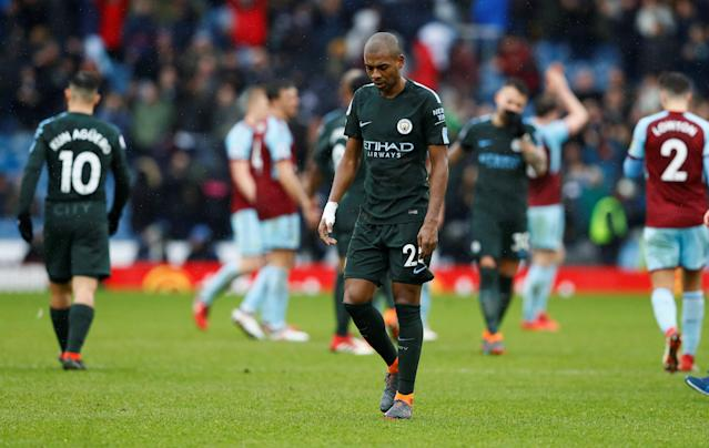 "Soccer Football - Premier League - Burnley vs Manchester City - Turf Moor, Burnley, Britain - February 3, 2018 Manchester City's Fernandinho looks dejected at the end of the match Action Images via Reuters/Jason Cairnduff EDITORIAL USE ONLY. No use with unauthorized audio, video, data, fixture lists, club/league logos or ""live"" services. Online in-match use limited to 75 images, no video emulation. No use in betting, games or single club/league/player publications. Please contact your account representative for further details."