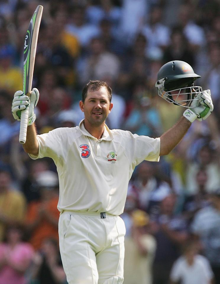 SYDNEY, NSW - JANUARY 06:  Ricky Ponting of Australia celebrates reaching his century during day five of the Third Test between Australia and South Africa played at the SCG on January 6, 2006 in Sydney, Australia.  (Photo by Hamish Blair/Getty Images)