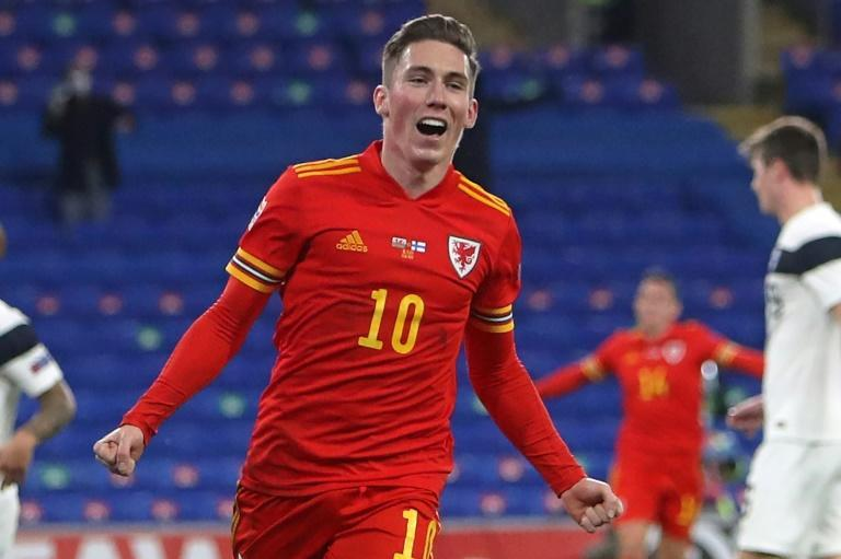 Going up: Harry Wilson opened the scoring as Wales beat Finland 3-1 to secure Nations League promotion