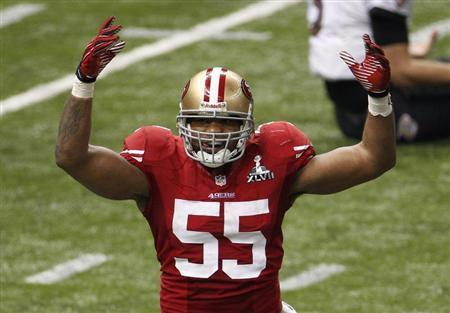 San Francisco 49ers outside linebacker Ahmad Brooks reacts after sacking Baltimore Ravens quarterback Joe Flacco during the third quarter in the NFL Super Bowl XLVII football game in New Orleans, Louisiana, February 3, 2013. REUTERS/Jonathan Bachman