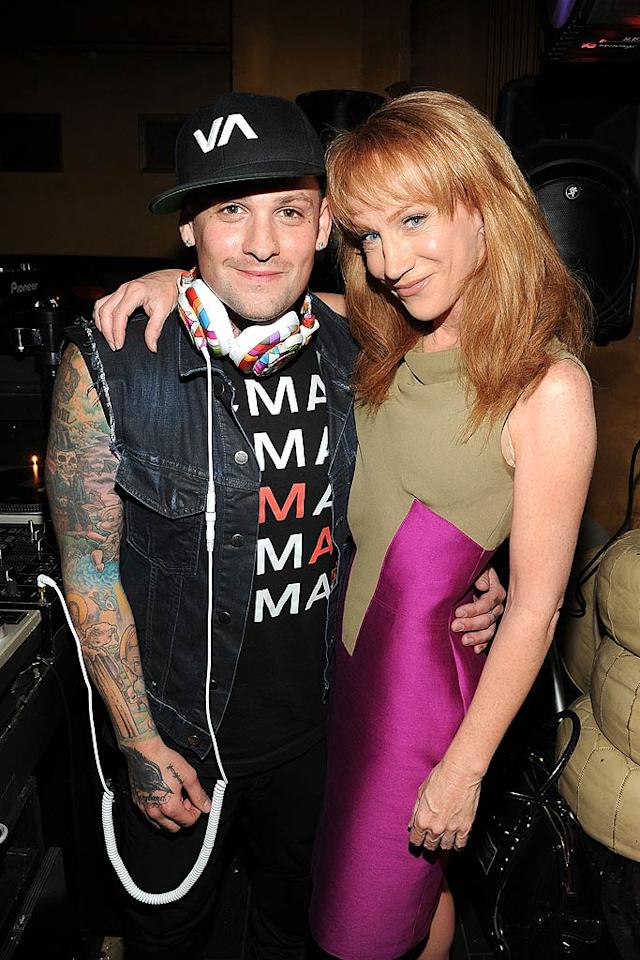 """The young-at-heart Kathy Griffin cozied up to Good Charlotte's Benji Madden, who also served as one of the party's DJs. Wonder if Kathy made any song requests ... Michael Buckner/<a href=""""http://www.gettyimages.com/"""" target=""""new"""">GettyImages.com</a> - May 4, 2011"""
