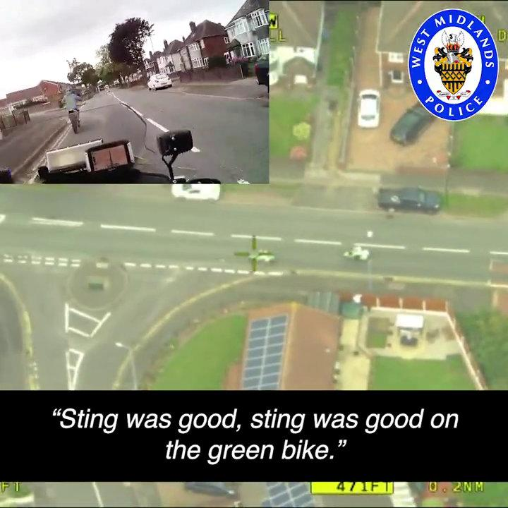 The dramatic footage shows police chasing a motorcyclist as he sped illegally through residential streets at 80mph (Picture: SWNS)