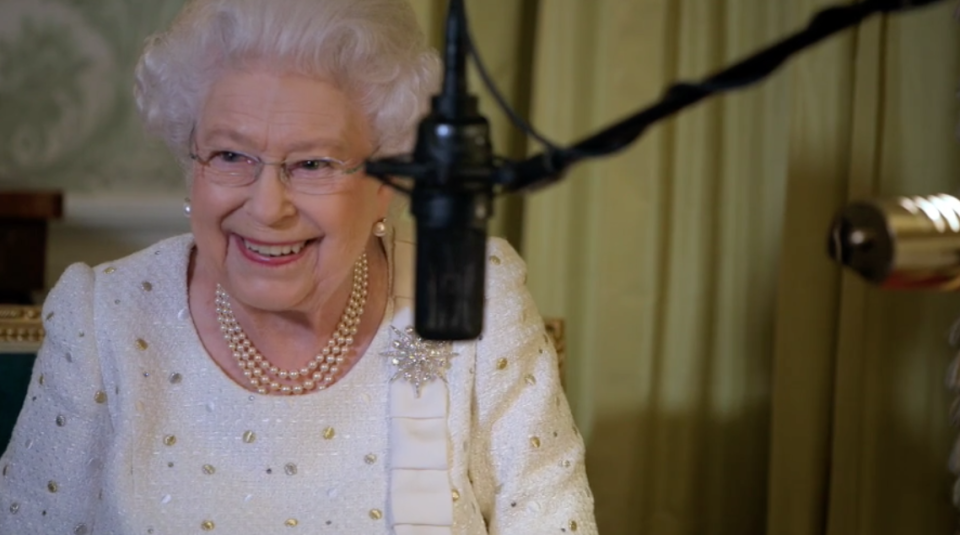 The Queen laughs as she's asked to re-record her speech (ITV)