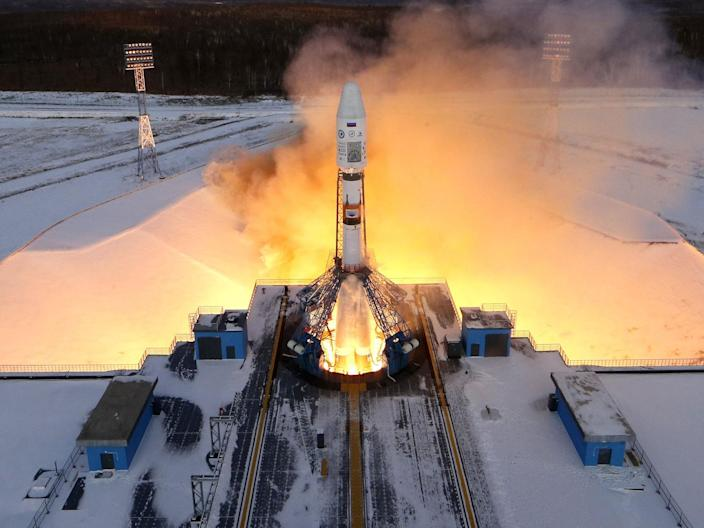 A Russian Souz 2-1b rocket lifts off from the Vostochny Cosmodrome in December 2017: EPA
