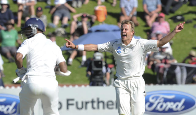 New Zealand's Neil Wagner makes an unsuccessful appeal for the wicket of India's Shikar Dhawan on the first day of the second cricket test in Wellington, New Zealand, Friday, Feb. 14, 2014. (AP Photo/SNPA, Ross Setford) NEW ZEALAND OUT