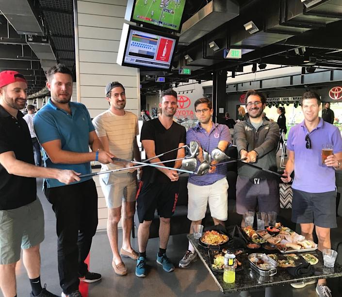The reporter (third from left) at a bachelor party at Topgolf in Las Vegas in 2017. (Daniel Roberts/Yahoo Finance)