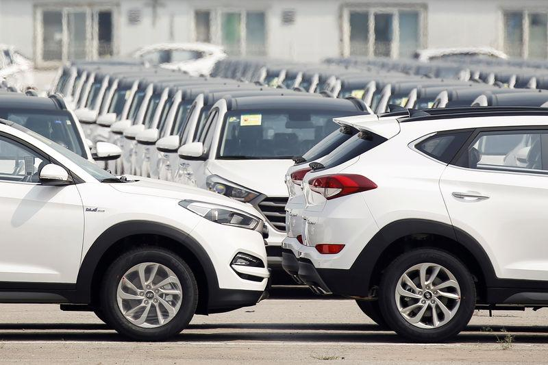 FILE PHOTO: Hyundai cars parked in the compound at the South Korean automaker's plant in Beijing