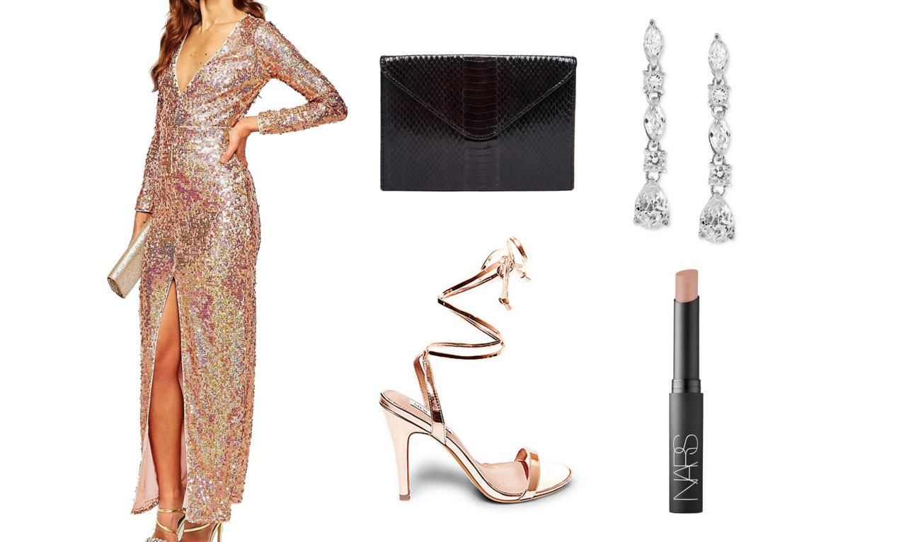 <p>Get ready to glow head-to-toe in this sequin-embellished maxidress.</p>