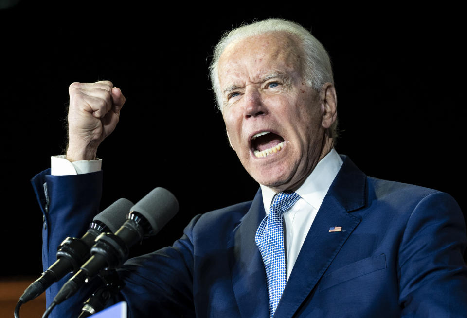 LOS ANGELES, UNITED STATES - MARCH 03, 2020: Former Vice President and Democratic presidential candidate Joe Biden speaks during a campaign rally in Los Angeles.- PHOTOGRAPH BY Ronen Tivony / Echoes Wire/ Barcroft Studios / Future Publishing (Photo credit should read Ronen Tivony / Echoes Wire/Barcroft Media via Getty Images)