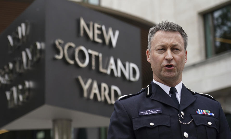 Dean Haydon, Deputy Assistant Commissioner for Specialist Operations speaks to journalist outside New Scotland Yard, London, Friday, Aug. 20, 2021 following the conclusion of the inquest of Streatham terror attacker Sudesh Amman. A jury in London has concluded that a terror attack in the south of the city last year could have been prevented had the perpetrator been recalled to prison after he bought items that were used in a fake suicide belt. Twenty-year-old Sudesh Amman was shot dead by armed undercover officers after he stole a knife from a hardware shop and randomly stabbed a man and a woman in Streatham on Feb. 2, 2020, before turning to charge at the two armed police officers who gave chase. (Dominic Lipinski/PA via AP)