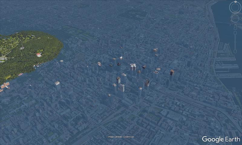 Most buildings in Montreal would be completely submerged in water in this computer-generated simulation of a flood. Photo from Scott Sutherland/Google.
