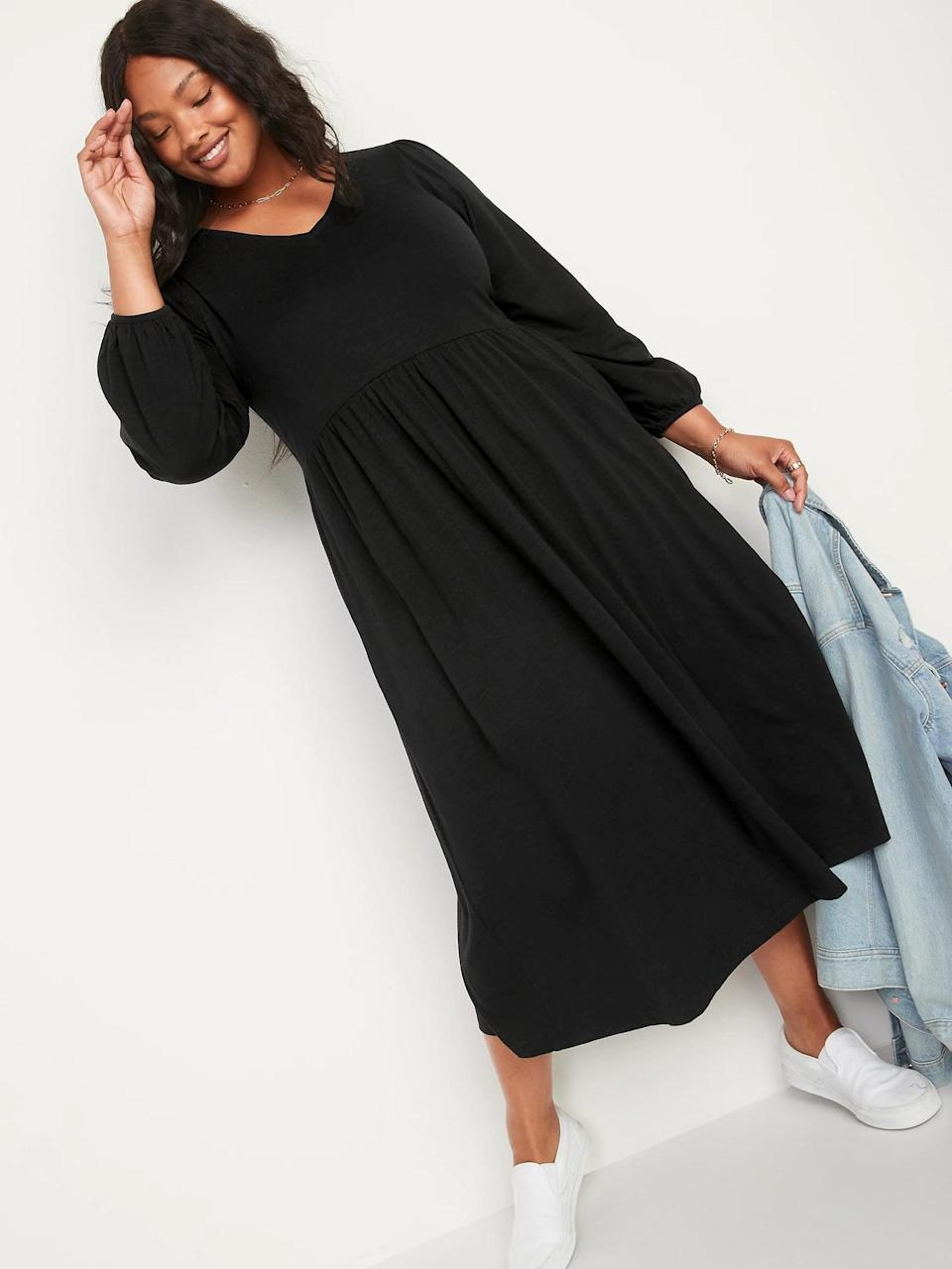 <p>We love the cut of this <span>Old Navy Long-Sleeve Fit and Flare Slub-Knit Midi Dress</span> ($40) with a shirred empire waist and puffed sleeves. With its relaxed yet put-together look, it's perfect to take anywhere.</p>