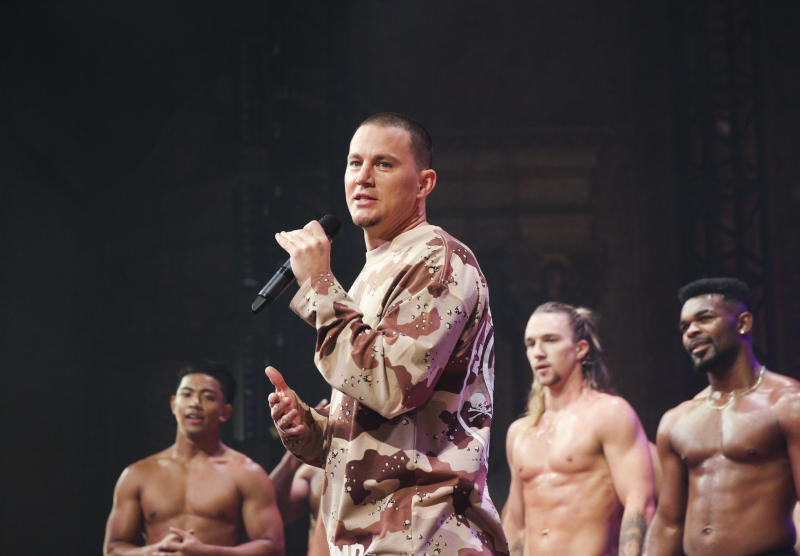 Channing Tatum on stage in Melbourne with Magic Mike dancers