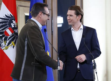 Head of the Freedom Party (FPOe) Heinz-Christian Strache (L) and head of the People's Party (OeVP) Sebastian Kurz shake hands at the end of a news conference in Vienna, Austria, December 15, 2017. REUTERS/Leonhard Foeger