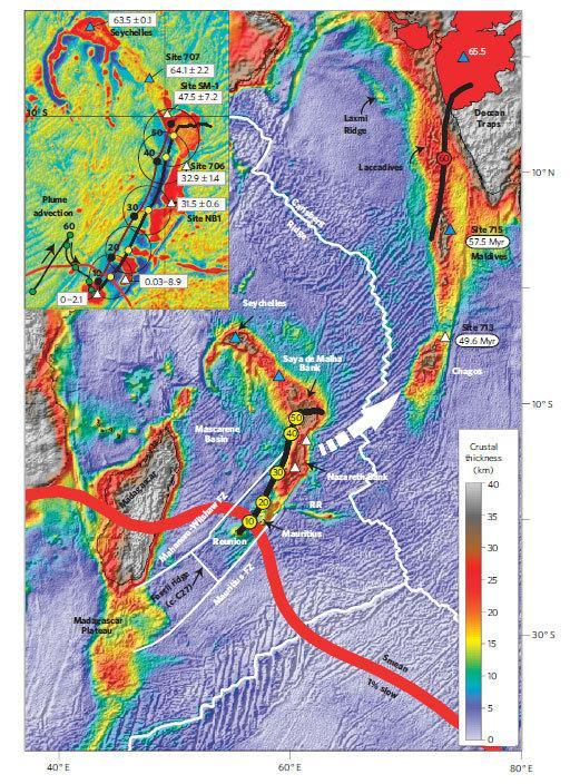 This map shows the thickness of the crust around the Mauritius and Reunion Island region. The circled numbers note how many millions of years ago the mantle plume there was beneath or near the Indian and African tectonic plates.