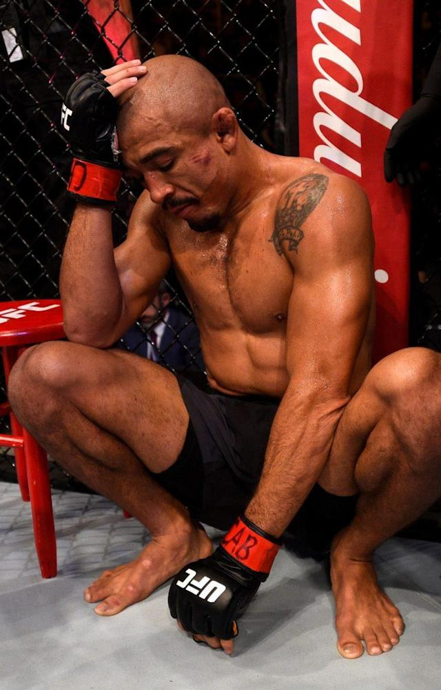Ex-UFC featherweight champion Jose Aldo tries to gather himself after losing his title to Max Holloway on Saturday in the main event of UFC 212. (Getty Images)