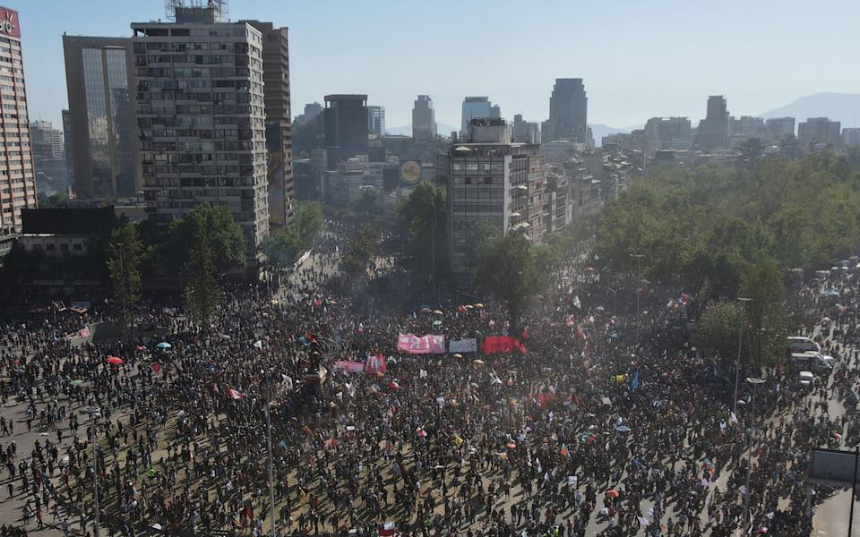 Aerial view of demonstrators during a protest at Plaza Italia - Getty