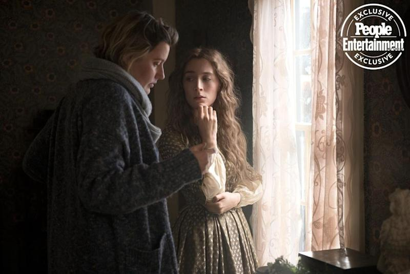 Greta Gerwig with Saoirse Ronan on the Little Women set | Wilson Webb/Columbia Pictures