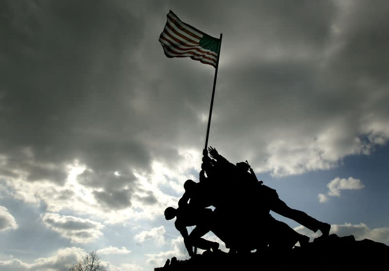 FILE PHOTO: The Iwo Jima memorial is shown under cloudy skies in Arlington