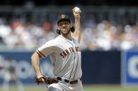 San Francisco Giants starting pitcher Madison Bumgarner works against a San Diego Padres batter during the first inning of a baseball game, Thursday, March 28, 2019, in San Diego. (AP Photo/Gregory Bull)