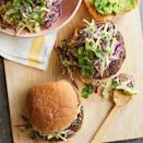 <p>Lighten up your burger! Bean patties have less saturated fat and more fiber than beef patties. They're also cheaper and easier to cook indoors--and we promise they're just as satisfying, especially with the mouthwatering creamy slaw on top.</p>
