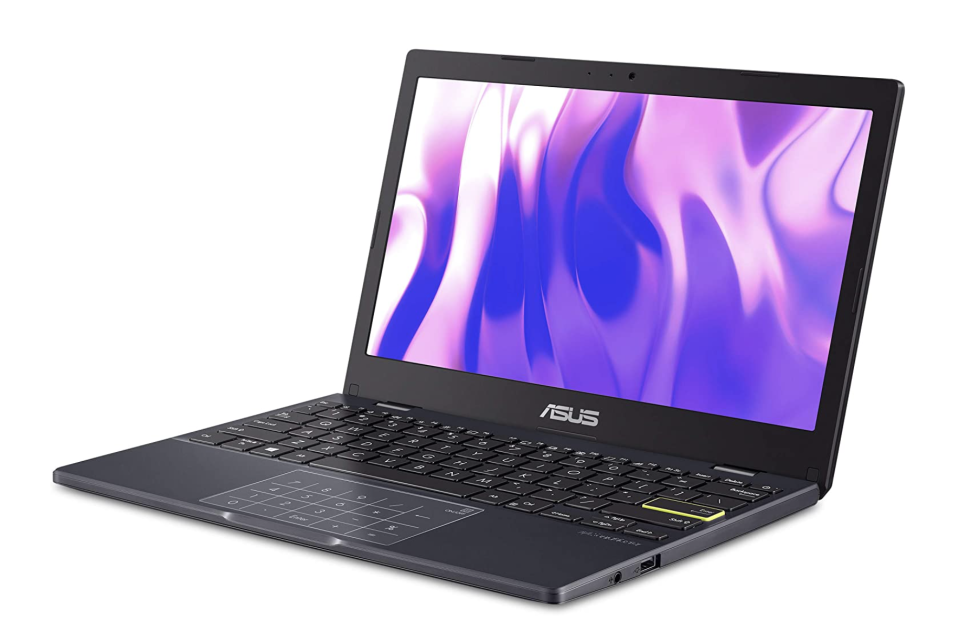 black asus laptop with purple screen and black keyboard and body