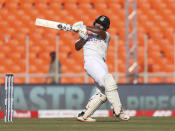 India's Rishabh Pant bats during the second day of fourth cricket test match between India and England at Narendra Modi Stadium in Ahmedabad, India, Friday, March 5, 2021. (AP Photo/Aijaz Rahi)