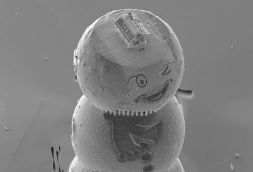 The gingerbread house, etched from silicon, sits atop a cap on the head of a winking snowman made from materials used in lithium-ion battery research
