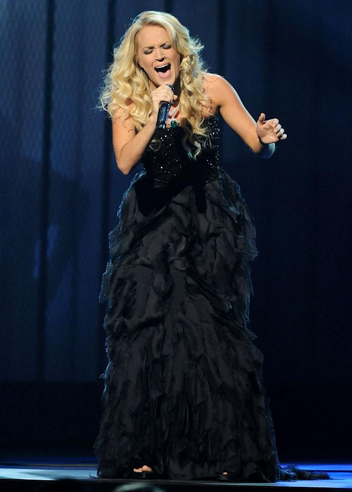 "Singer Carrie Underwood performs ""Just a Dream"" on stage during the 42nd Annual CMA Awards at the Sommet Center on November 12, 2008 in Nashville, Tennessee."