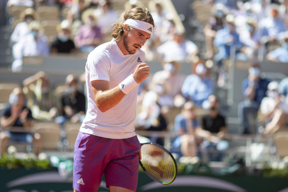 PARIS, FRANCE June 13.   Stefanos Tsitsipas of Greece in reacts during his match against Novak Djokovic of Serbia on Court Philippe-Chatrier during the Men's Singles Final at the 2021 French Open Tennis Tournament at Roland Garros on June 13th 2021 in Paris, France. (Photo by Tim Clayton/Corbis via Getty Images)